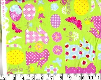 1 Yard, Bunnies, Flowers, Eggs and Butterflies on Green
