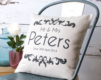 Personalised Mr & Mrs Vintage Style Pillow Cover