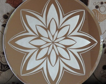Bluestar Flower Acid Etched Mirror