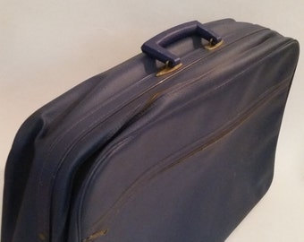 """Vintage Suitcase 1960's Blue Vinyl Soft Body Travel Bag 21"""" Boho Hipster Suitcase 60's Luggage Carry On Made in Japan"""