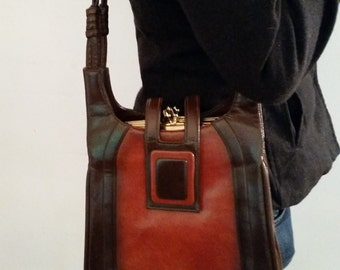 Vintage Purse 1970's Mod Shoulder Bag Brown 2 Tone Leather Shoulder Bag Made by Lou Taylor Boho Large Shoulder Purse 70's Designer Purse