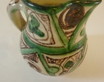 Vintage Pitcher Ceramic Jug with Rustic Floral Design Shabby Chic Pottery Made in Italy 1970's