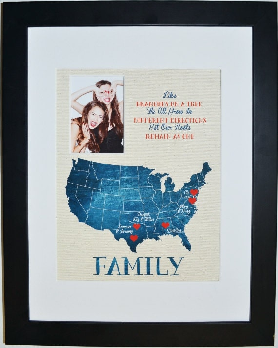 Long Distance Gift For Family Family Quote Print Us Map By