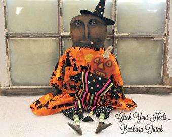 "24"" Fall Primitive Halloween Witch & 12"" Scaredy Jack Doll Set"