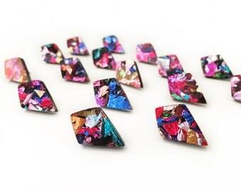 Kaleidoscope Spear Point Studs - rainbow diamond shape acrylic