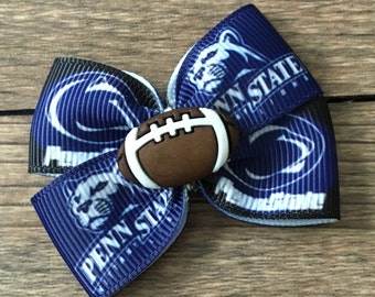 Penn State Dog or Infant Football Bow-Penn State Lions Football Bow-Nittany Lions Football Baby Bow-Small Penn State Bow-Penn State Dog Bow