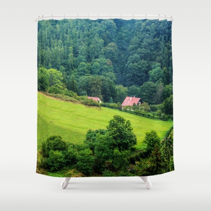 Forest green photo shower curtain forest shower curtain photo - Forest green shower curtain ...