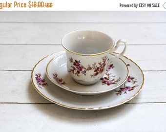 SALE Tea/Coffee Cup and Saucer Trio Set -Pink Roses on White- Vintage German Porcelain with Gold Border Teacup Saucer and Matching Plate
