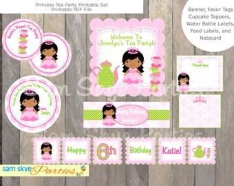 Princess Birthday Tea Party Set, Banner, Invitation, Cupcake Toppers, Favor Tags DIY Printable Set