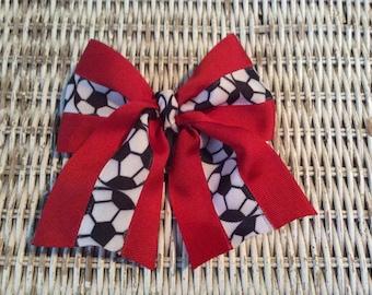 Red Soccer Girls Hair Bow - Soccer Ponytail Holder