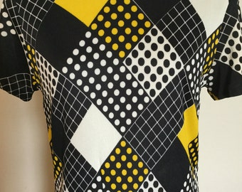 1960s Mod Black/Yellow Pleated Drop Waist Peter Pan Collar Dress