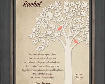 SISTER GIFT - Personalized birthday gift for Sister - Wedding Gift for Sister - Christmas Gift -8x10 Print- Colors can be changed