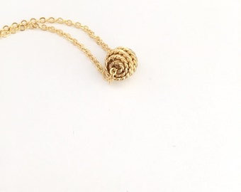 Knot necklace, dainty everyday jewelry, Gold knot, Nautical knot necklace, Gift for her under 20 USD