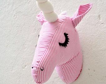 Unicorn Faux Taxidermy/Unicorn Trophy Head/ Fabric Animal Trophy/OOAK/wall mount Unicorn head