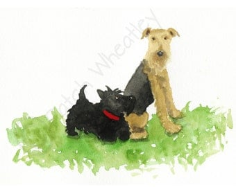 Airedale Terrier & Scottie Dog  Art Print #132