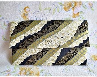 Large envelope clutch japanese kimono fabric black gold evening purse