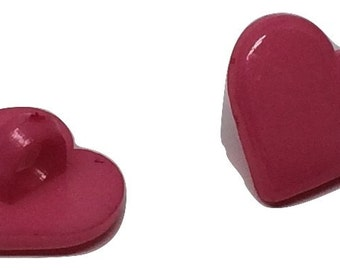 10 Heart Shaped  Resin Plastic Shank Button - Pink 12mm Pack of 10 - PB110