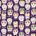 Amethyst Bone Head by Michael Miller Fabrics - Sugar Skulls Fabric Michael Miller Fabrics Purple Day of the Dead Fabric Dia De Los Muertos