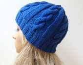 Wool Cabled Knit Beanie Hat - Blue 100% Wool Braided Beanie Hat - Wool Eco Friendly Hand Knitted Hat - Women Wool Knit Hat - ClickClackKnits