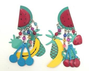 Vintage enamel metal fruit chandelier Earrings