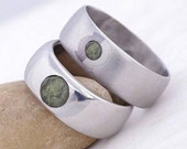 RESERVED LISTING - stainless steel ring with a moldavite and custom engraving  - Classic with a stone