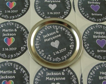 "Personalized Sticker Labels - Chalkboard Laurel & Heart Design - Twenty 2"" Circles - Choice of Color - clh1"