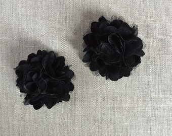 Black chiffon hair clips