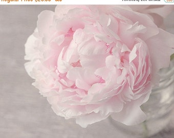 """SALE - Flower Photograph, Pink Peony, Fine Art Photography Print, pastel pink, warm gray, floral, cottage chic wall art, 8x10 - 24x30, """"Grac"""
