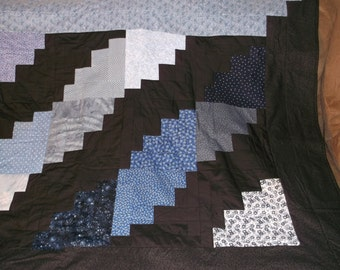 Couch/Sofa Quilt/Throw in Black  and Shades of Blue  with a Royal Blue Fleece Backing
