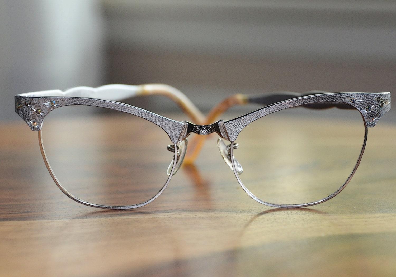 Rhinestone silver cat eyeglasses art craft vintage usa 48 20 for Art craft eyeglasses vintage