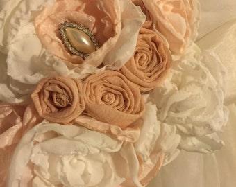 Peach wedding dress sash belt bridesmaids flower girl dress sash fabric flower vintage lace shabby chic photo prop vintage lace dress sash