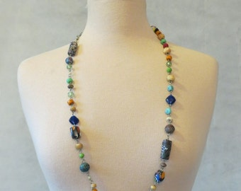 Necklace of Ceramic and Glass Beads
