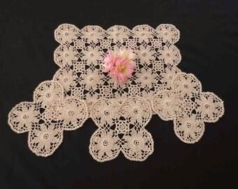 Set of Four Hand Crocheted, Ecru, Beige Doilies