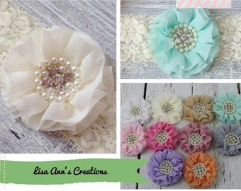 Baby Headband Chiffon Flower Headband Flower Girl Headband Chiffon Jeweled Headband Wide Ivory Elastic Headband Christening Headband