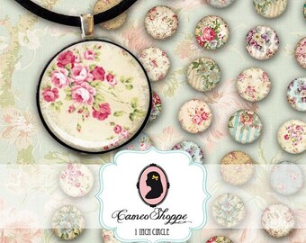 75% OFF SALE Digital Collage Sheet Circle SHABBY Chic 02 1 Inch Circles Digital Collage Bottlecaps Pendants Magnets Instant Download