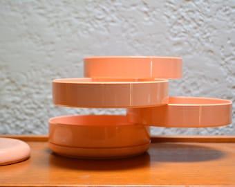Vintage Desk Organizer Interdesign Mid Mod Plastic Swivel Organizer - Pirovano Design. Salon Pink Plastic Desk Office Jewelry Storing Box.