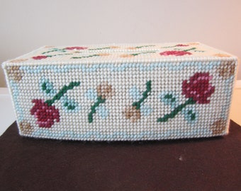 TUMBLING ROSES Full Size Tissue Box Cover in Plastic Needlepoint