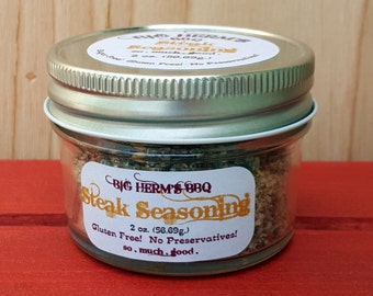 Steak Seasoning by Big Herm's BBQ  Gourmet & Hostess gift, Steak, Smoker, all purpose, father, bbq gift, man, popcorn, barbeque