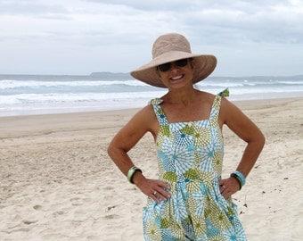 Women's Linen Sundress, Retro dress, Tropical print, Linen clothing, Summer dress, Retro print, Floral dress, Beach dress, Cotton dress.
