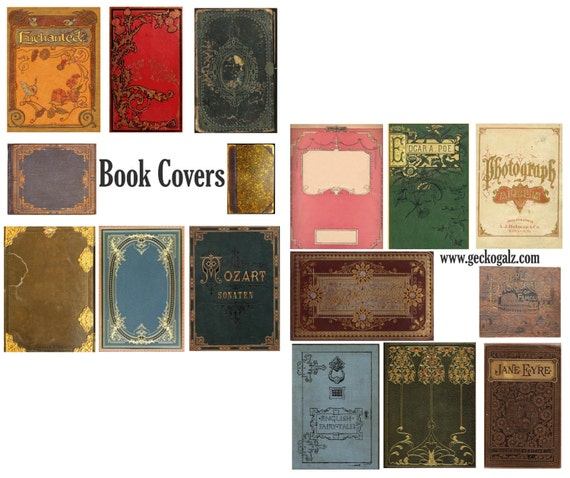 How To Make Book Cover Collage : Vintage book covers digital collage set from geckogalz on