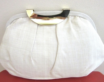 Retro Clutch Bag or Shoulder Bag by Cabrelli Canada Ivory Linen