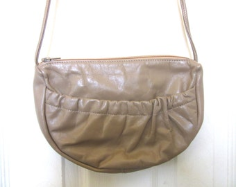 Genuine Leather Shoulder Bag Taupe Light Brown Vintage