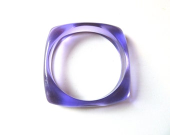 Lucite Bangle Amethyst Purple Square Translucent Small Medium