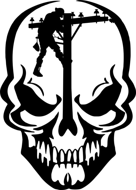 Lineman Skull Electrician Linemen Power Pole Car By Dbdecals