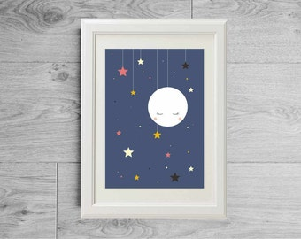 Sleeping moon and stars wall art print - Home art print - Children or baby nursery furniture - Kids room decor - Printes on matte paper