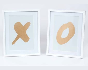 CLEARANCE SALE Gold Kiss Hug Hand Painted, Set of 2 Metallic Gold Typography, Hand Stencilled Love Art, Boho Beach Art, Shimmery letters