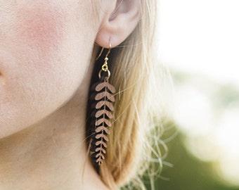 Boho wood Earrings, Nature jewelry, Wooden Earrings, Leaf Jewelry, Yoga jewelry, Nature Gift, Yoga Gift, Wood Gift