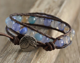 Beachy leather wrap bracelet. Boho bohemian jewelry