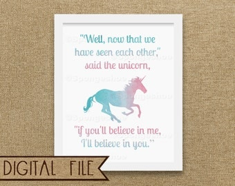 Watercolor Unicorn Printable, Pink and Blue Nursery Wall Art, Unicorn Silhouette, Nursery Decor, Unicorn Quote, Alice Quote, Lewis Carroll