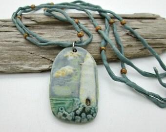 Ceramic Lighthouse Pendant Necklace
